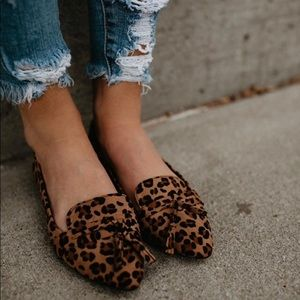 Shoes - Leopard tassel vegan suede pointed loafer shoes